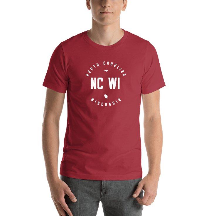North Carolina & Wisconsin Circle States T-shirt