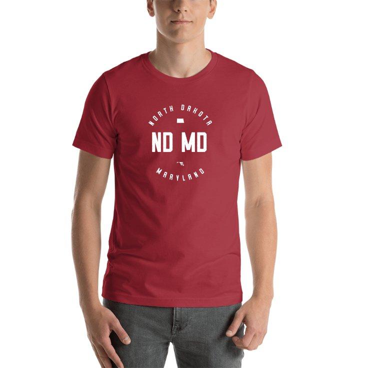 North Dakota & Maryland Circle States T-shirt