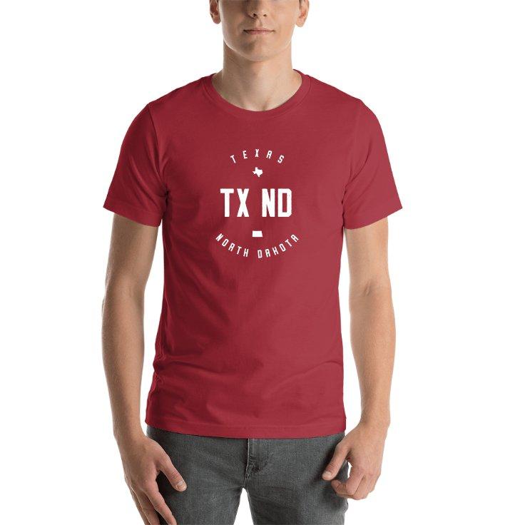 Texas & North Dakota Circle States T-shirt