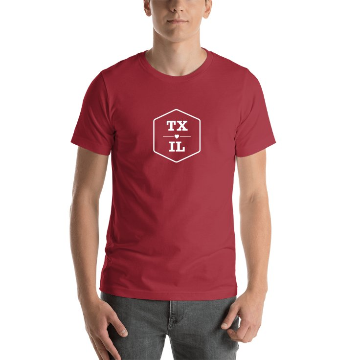 Texas & Illinois State Abbreviations T-shirt