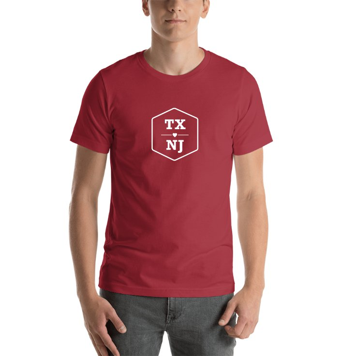 Texas & New Jersey State Abbreviations T-shirt