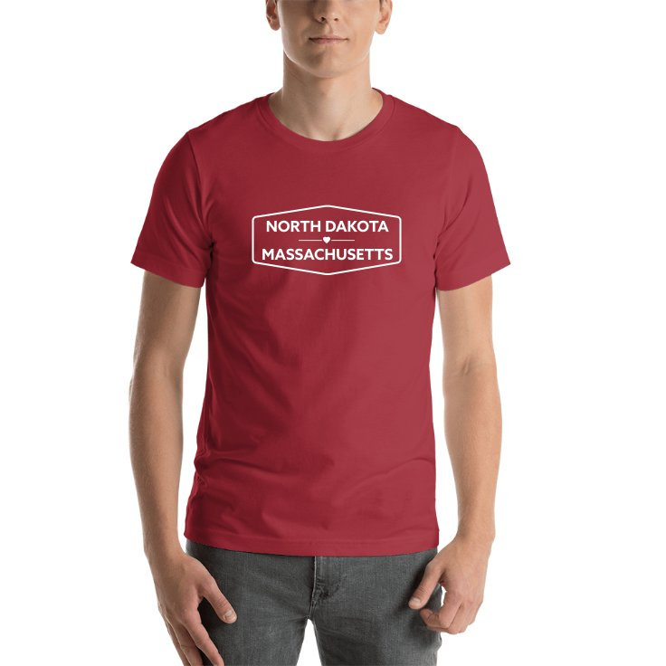 North Dakota & Massachusetts State Names T-shirt