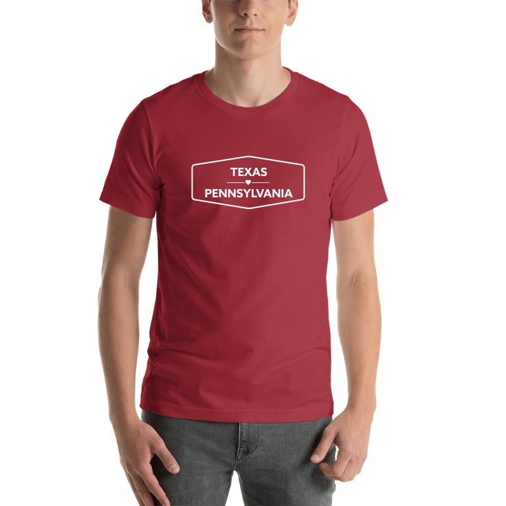Texas & Pennsylvania State Names T-shirt